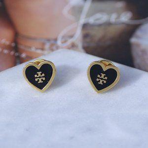 Tory Burch Enamel Heart Stud Earrings